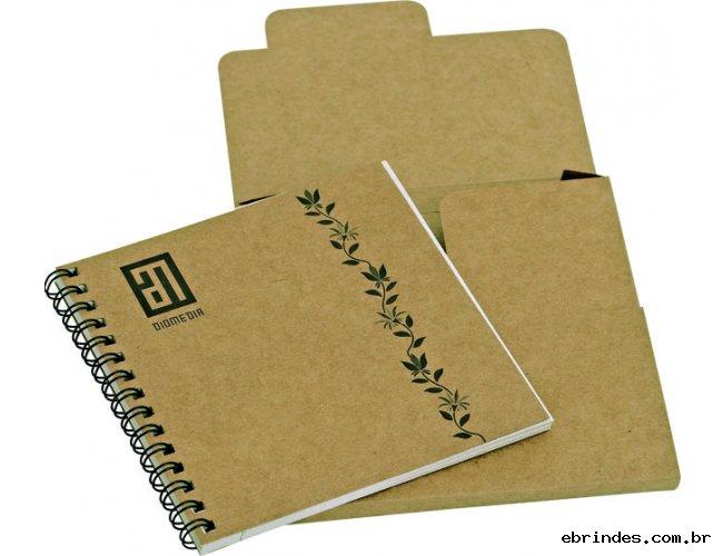 Caderninho kraft/Reciclado - 50 fls e embalagem