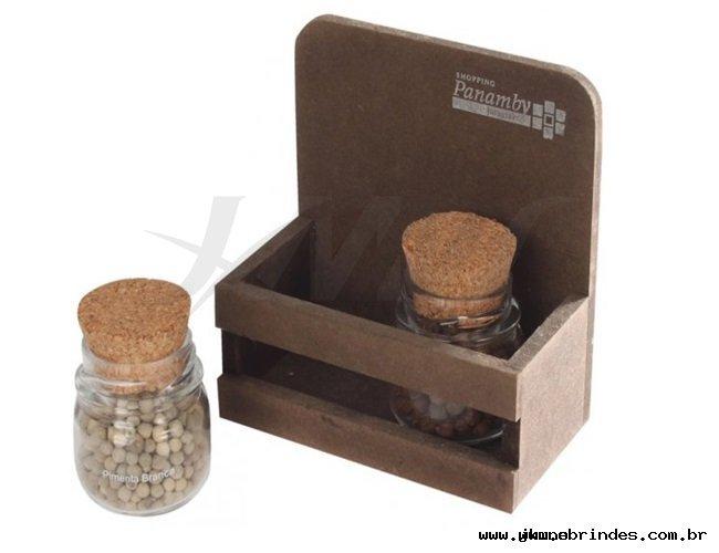 Kit tempero 2 potes com suporte de madeira envelhecida