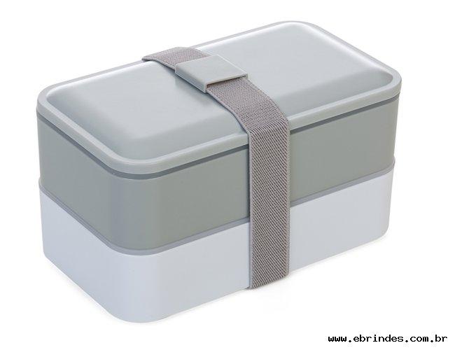Marmita de plastico com 2 compartilhamentos e talheres