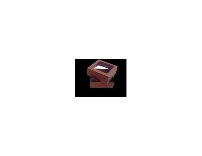 Caixa Kraft com visor 10x10x3,5