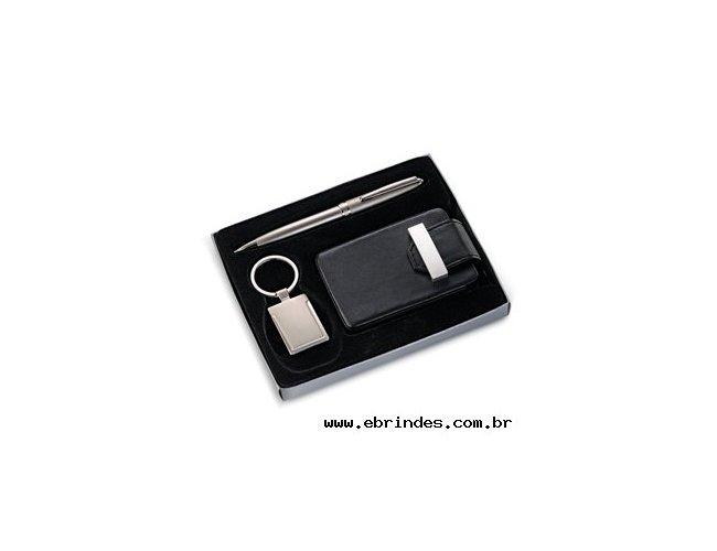 Conjunto porta-cartão com acessórios (3pçs)