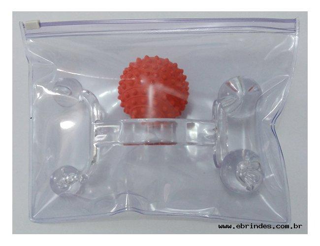 Kit anti-stress Com Massageador e bolinha anti-stress e embalagem PVC