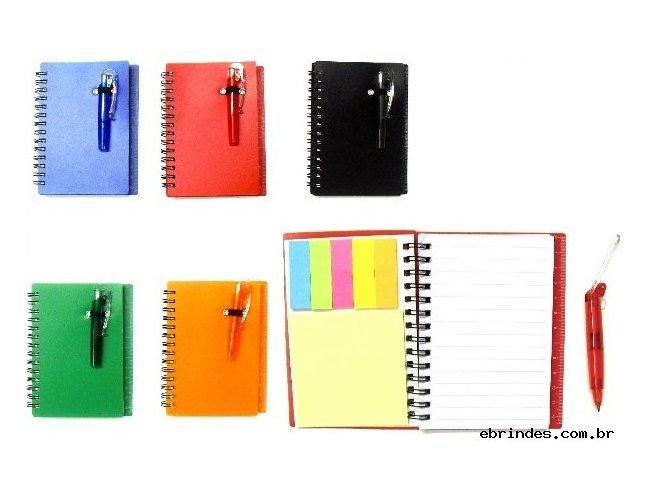 Bloco de anotações com post-its e mini caneta, material de plástico