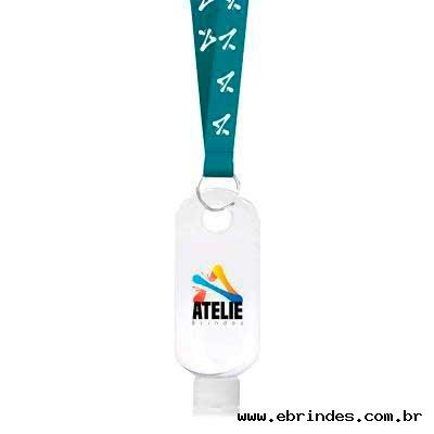 frasco porta alcool gel com cordão